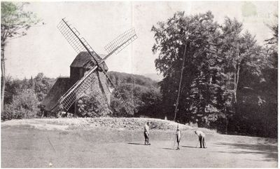 British Army Golf Course Bielefeld, West Germany. The seventh green and windmill in 1950.