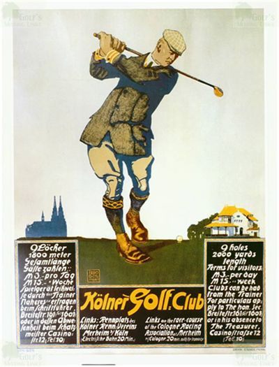 Kölner Golf Club, Rodenkirchen. Early advertising poster for the golf course.