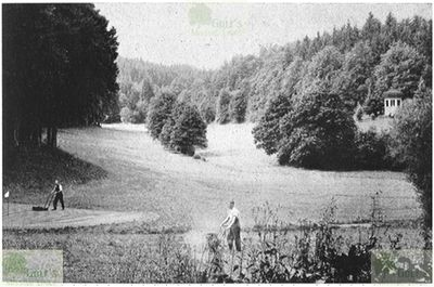 Langenschwalbach im Taunus Golf Club. Green-keepers at work on the course in 1933.