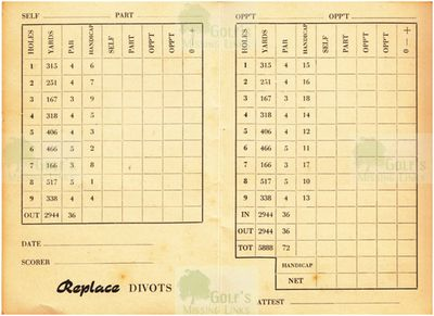 Mannheim Golf Club. Scorecard.