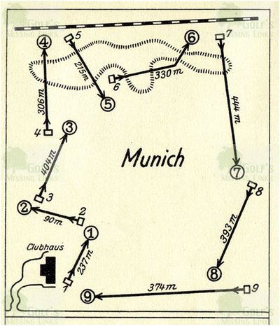 Münchener Golf Club. Layout of the former nine-hole course.