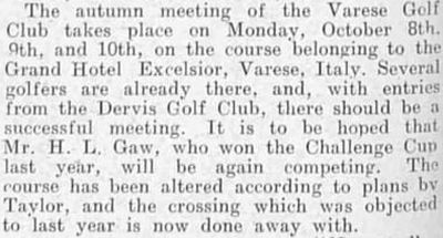 Varese Golf Club, Italy. Report for the autumn meeting in 1906.