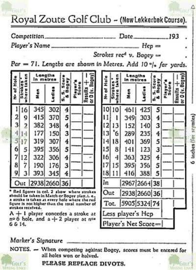 Lekkerbek Golf Course. Course scorecard from 1936.