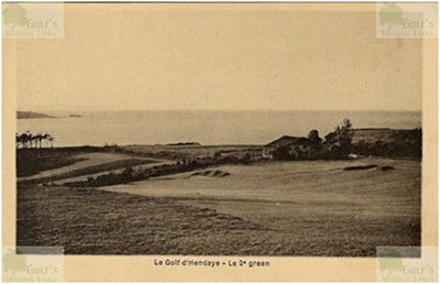 Hendaye (Abbadia) Golf Club, Pyrénées-Atlantiques. The second green.