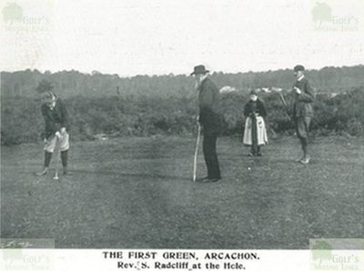 Arcachon Golf Club, Gironde. The Rev S Radcliff on the first green.