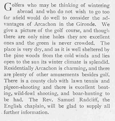 Arcachon Golf Club, Gironde. Article from The Tatler November 1904.