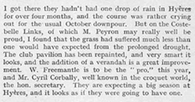 Hyères - Costebelle Golf Club, Var (83). Article from The Tatler November 1910.