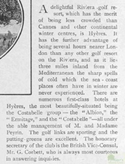 Hyères - Les Palmiers Golf Club, Var. Article from The Talter in December 1901.