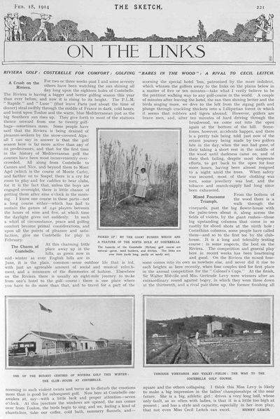 Hyères - Costebelle Golf Club, Var. Article from The Sketch January 1914.