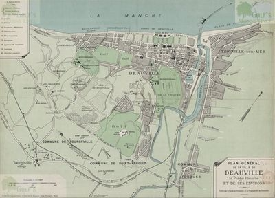 Deauville Golf Club, Calvados. Pre-WW2 map showing both Deauville golf courses.