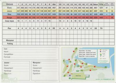 Lac de Germigny Golf Club, Seine-et-Marne (77). Inside of the Scorecard.