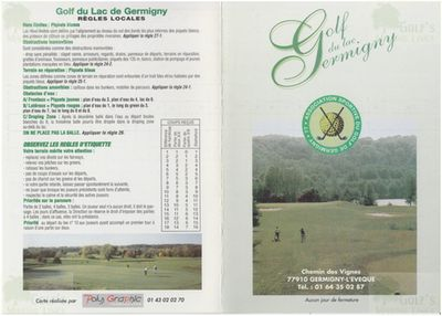 Lac de Germigny Golf Club, Seine-et-Marne (77). Outside cover of the Scorecard.