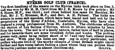 Hyères - Les Palmiers Golf Club, Var. Competition result from December 1892.