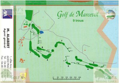 Marcevol Golf Club, Pyrénées-Orientales (66). Course nine-hole scorecard and plan.