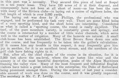 Menton/Sospel Golf Club, Alpes-Maritime. Report on the course from January 1911.AC