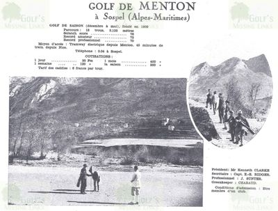Menton/Sospel Golf Club, Alpes-Maritime. Course guide.