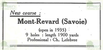 Mont Revard Golf Club, Savoie (73.) From the 1936 Golf Guide Plumon.