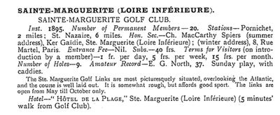 Pornichet Golf Club, Loire Atlantique. Entry from the 1910 Nisbet's Golf Yearbook.