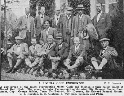 Menton Golf Club, Sospel, Alpes-Maritime. Teams representing Menton and Monte Carlo in a match in April 1928.