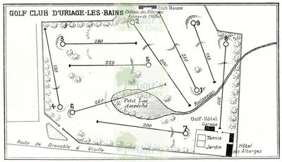Uriage Golf Club, Isère (38), France. Layout plan of the course.