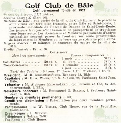 Basel Golf Club, Switzerland. Course Guide 1931.