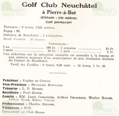 Neuchâte Golf Club, Switzerland. Golf Club guide.