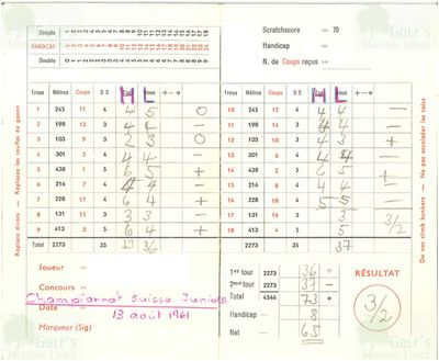 Neuchâtel Golf Club, Switzerland. Scorecard from 1961.