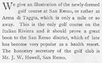 San Remo Golf Club, Switzerland. Text accompanying picture of golfers 1903.