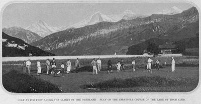 Thun Golf Club, Switzerland. View of the golf course from 1929.