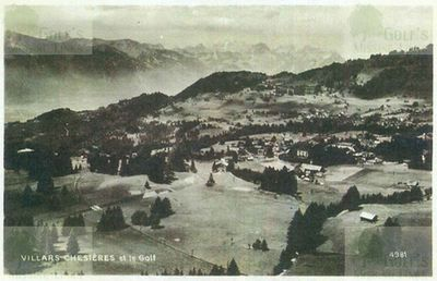 Villars-Palace Golf Club, Switzerland. View of the golf course.