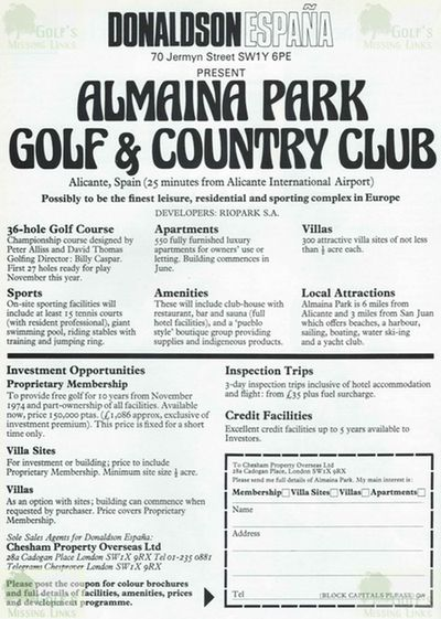 Almaina Park Golf and Country Club, Alicante. Advert for the Almaina Park Golf Complex 1974.