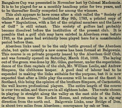 Aberdeen Golf Club. Entry from the Golfing Annual 1888/89.