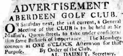 Aberdeen Golf Club. Advert from the Aberdeen Press and Journal April 1781.