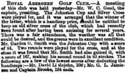 Aberdeen Golf Club. The club seems to have takes on the Royal title in 1879.