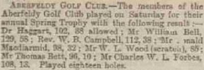 Aberfeldy Golf Club, Perth & Kinross. Result from the spring meeting played in April 1890.