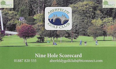 Aberfeldy Golf Club, Perth & Kinross. The scorecard and course plan for the current course (2020).