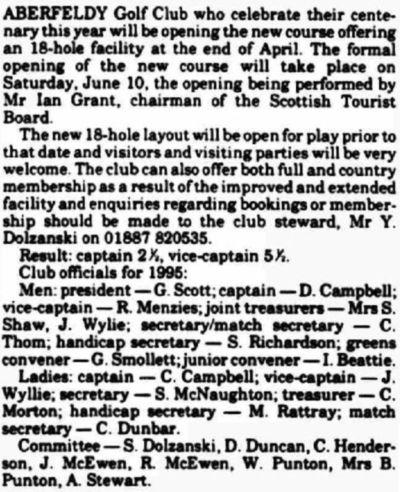 Aberfeldy Golf Club, Perth & Kinross. Report on the extended course in March 1895.