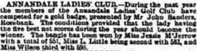 Annandale Golf Club, Lockerbie. Result of a ladies' competition in December 1895.