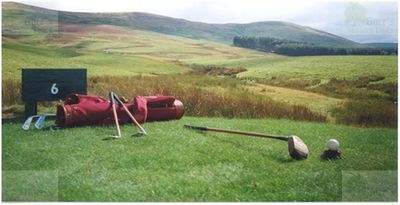 Arbory Brae Golf Course, Abington, Lanarkshire. Hickory clubs on the tee.