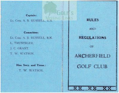 Archerfield Golf Club 1930s Rule Book.