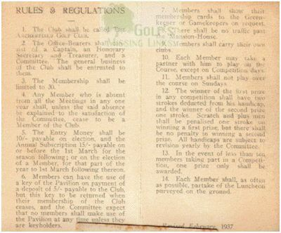 Archerfield Golf Club Rules & Regulations 1930s.