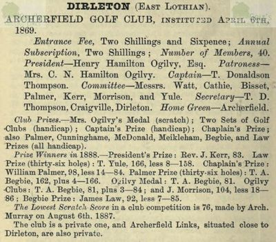 Archerfield Golf Club, Dirleton. Entry from the Golfing Annual 1888/89.