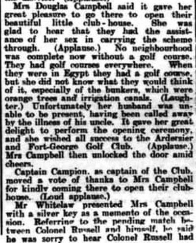 Ardersier Golf Club, Inverness. Report on the opening of the new clubhouse in July 1909