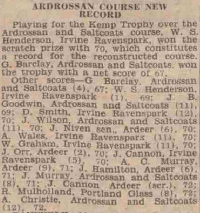 Ardrossan and Saltcoats Golf Club. New course record in June 1939.
