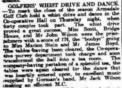 Armadale Golf Club, West Lothian. Golfers' Whist Drive and Dance October 1921.