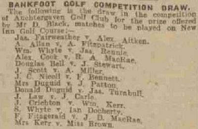 Auchtergaven Golf Club, Bankfoot, Perthshire. Competition draw August 1937.