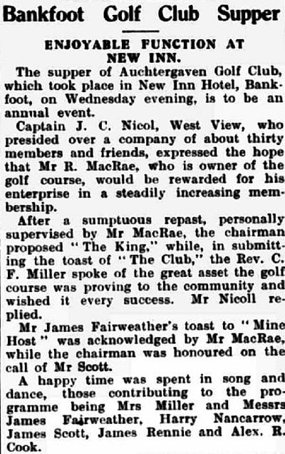 Auchtergaven Golf Club, Bankfoot, Perthshire. Supper held at the New Inn Hotel in March 1938.