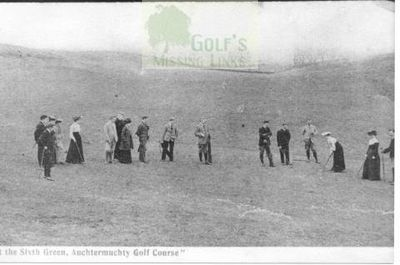 Auchtermuchty Golf Club players on the sixth green.