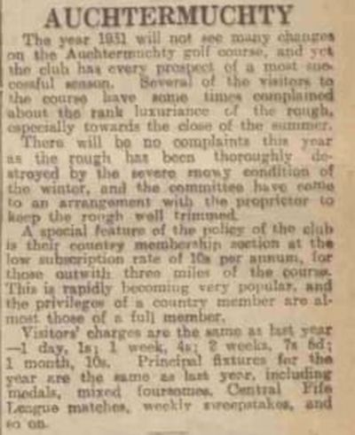 Auchtermuchty Golf Club, Fife. Report on the golf course March 1931.
