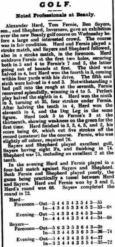 Beauly Golf Club, Highland. Report on a professional match at Beauly August 1910.